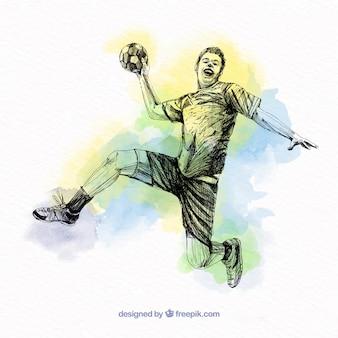 Handball player in sketch style
