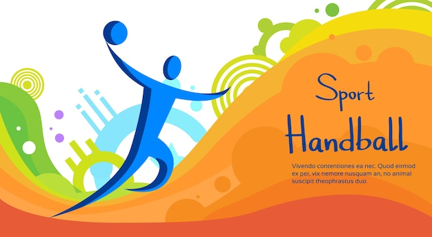 Handball player sport competition colorful banner