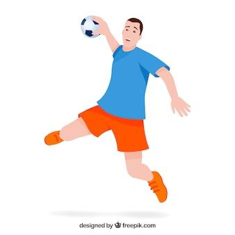 Handball player with flat design