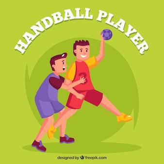 Handball players in hand drawn style
