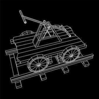 手車輸送。軌道自転車または鉄道車両。ワイヤーフレーム低ポリメッシュベクトルイラスト。 Premiumベクター
