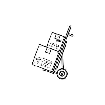 Тележка с картонными коробками рисованной наброски каракули значок. покупки, доставка пакетов, концепция отгрузки. векторная иллюстрация эскиз для печати, интернета, мобильных устройств и инфографики на белом фоне.