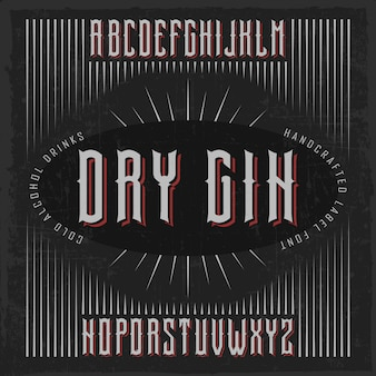 Handcrafted 'dry gin' font with casks and decorations