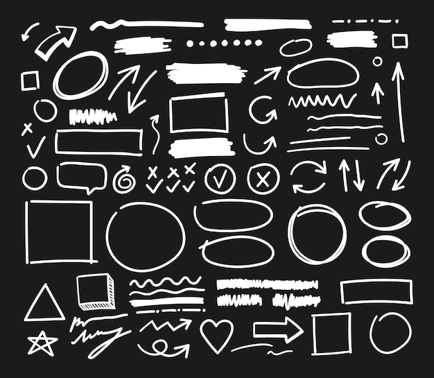 Handcrafted elements. hand drawn vector arrows set on black background.