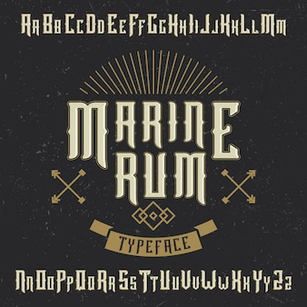 Handcrafted 'marine rum' font with and anchor and decoration