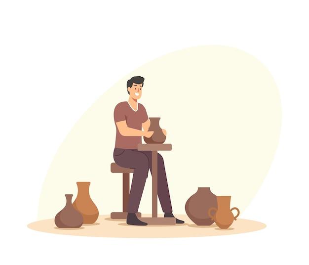 수제 마스터 클래스, 크리에이티브 직업. 워크샵 동안 회전하는 바퀴에 냄비를 만드는 행복한 사람. 포터 예술 취미, 점토 예술품을 만드는 도예가 남성 캐릭터. 만화 벡터 일러스트 레이 션