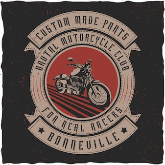 Handcrafted motorcycle label with an 'old bourbon' font with ribbons.