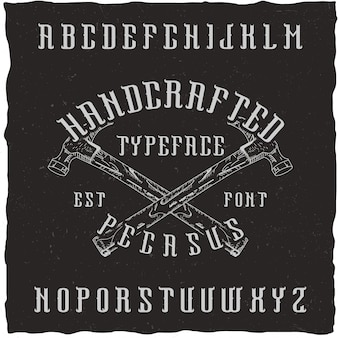 Handcrafted 'pegasus' font with the hand drawn choppers.