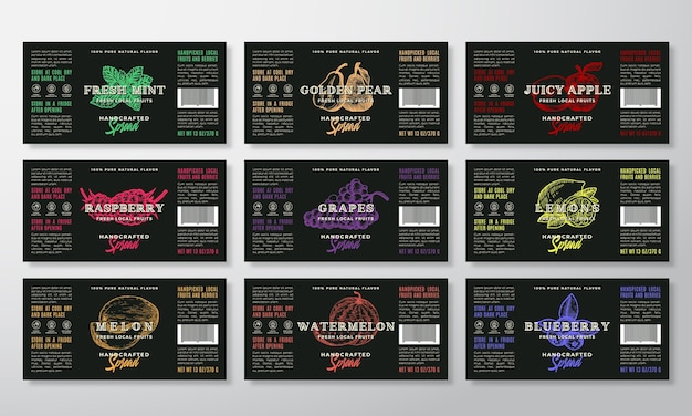 Handcrafted spread or jam labels template collection. modern typography banners with hand drawn fruits and berries silhouettes
