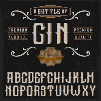 Handcrafted 'vintage gin' font with casks and decorations