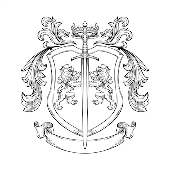 Handdrawing   illustration knight coat of arm