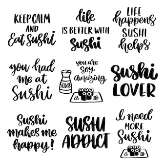 The handdrawing set of 9 inscriptions about sushi