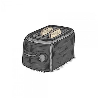 Handdrawing vintage illustration toaster with bread