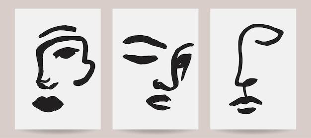Handdrawn abstract face illustrations trendy vector art prints