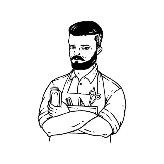 흰색에 고립 된 빈티지 스타일 라인 아트 그림에서 handdrawn 이발사 남자