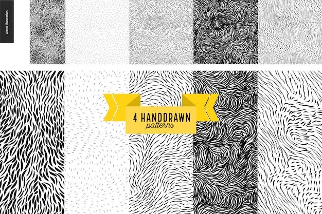 Набор handdrawn черно-белые узоры. мех или листья бесшовные черно-белые узоры