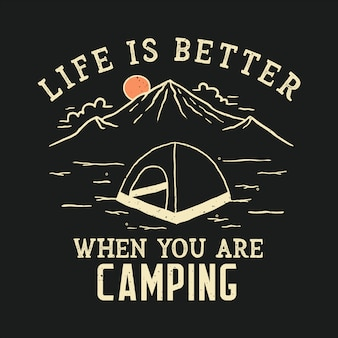 Handdrawn camping illustration