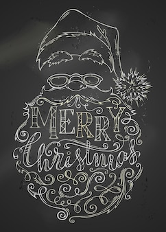 Handdrawn chalk merry christmas lettering and santa claus face