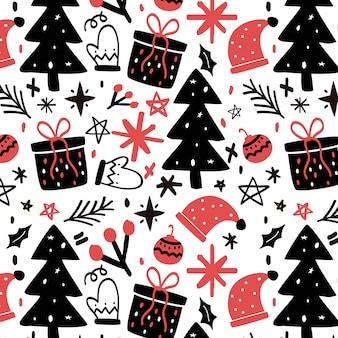 Handdrawn christmas pattern