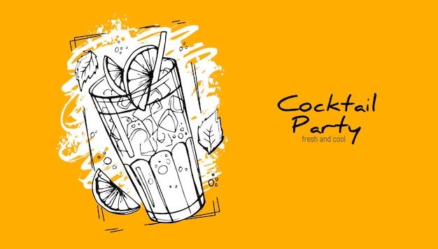 Handdrawn cocktail