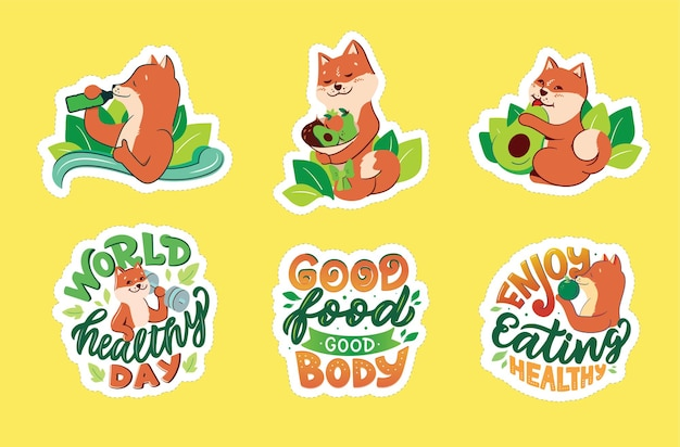 Handdrawn collection of funny dogs with lettering phrases the set of stickers
