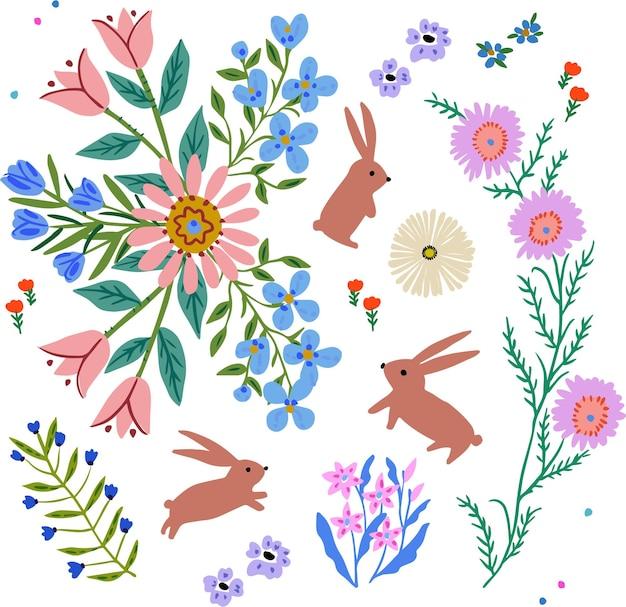 손으로 그린 화려한 꽃과 토끼 세트
