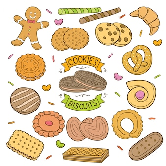 Handdrawn cookies and biscuits