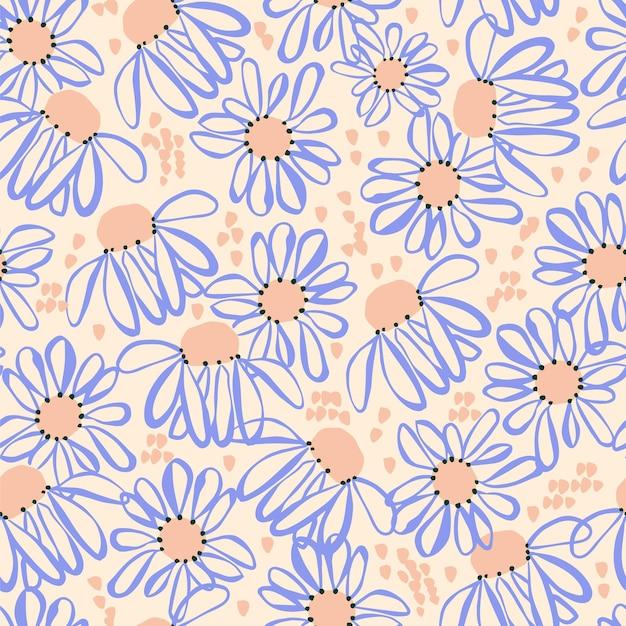 Handdrawn cosmos flower and brush stroke illustration motif seamless repeat pattern retro artwork