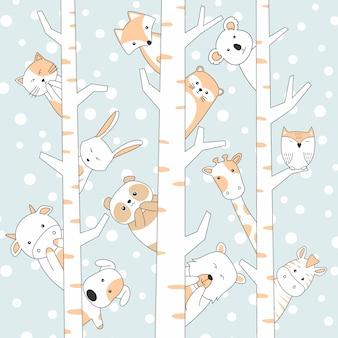 Handdrawn cute animals cartoon with snow and tree