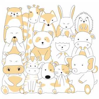 Handdrawn cute animals cartoon