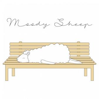 手描きのかわいい動物ムーディーシープ漫画