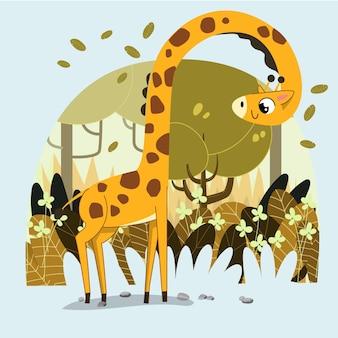 손으로 그린 귀여운 기린은 사바나 숲 배경에서 나뭇가지에 나뭇잎을 먹으려고 합니다.