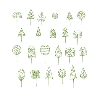 Handdrawn decorative trees collection