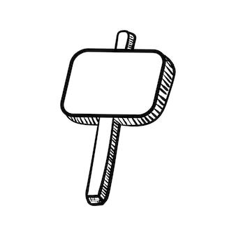Handdrawn каракули рекламный щит значок. ручной обращается черный эскиз. знак знака. элемент декора. белый фон. изолированный. плоский дизайн. векторная иллюстрация.