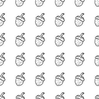 手描き落書きシームレスパターンどんぐりアイコン。手描きの黒いスケッチ。記号記号。装飾要素。白色の背景。孤立。フラットなデザイン。ベクトルイラスト。