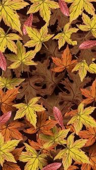 Handdrawn сухой кленовый лист фон