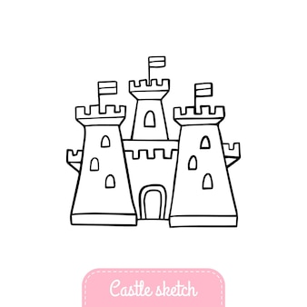 Handdrawn fairytale castle