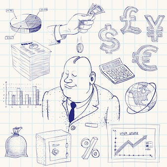 Handdrawn финансов каракули