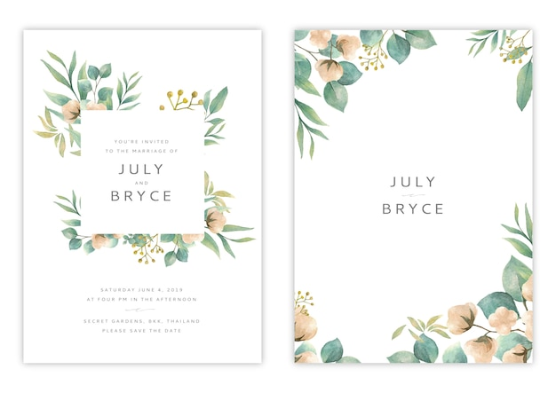 Handdrawn floral wedding invitation card template