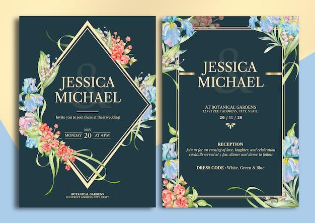 Handdrawn floral wedding invitation card