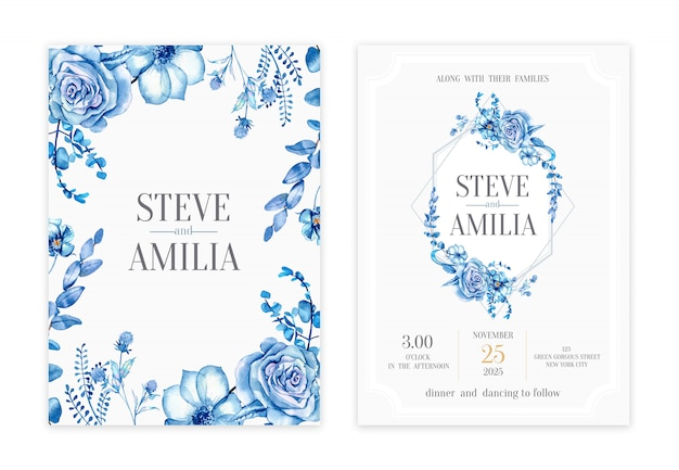 Handdrawn floral wedding invitation card