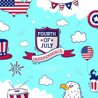 Handdrawn fourth of july independence day Premium Vector