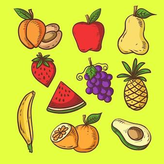 Нарисованные вручную фрукты