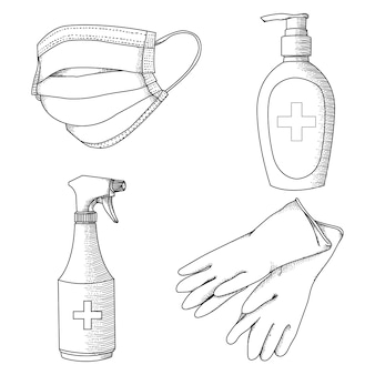 Handdrawn ilustration black and white virus prevention health equipment