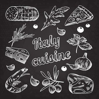 Handdrawn italy cuisine illustration