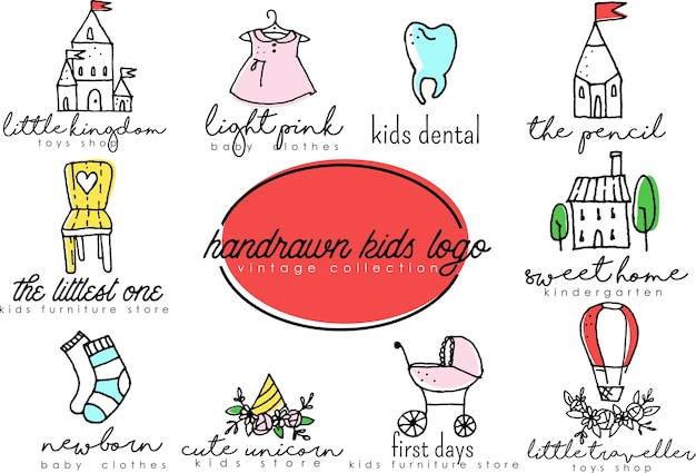 Handdrawn kids logo set