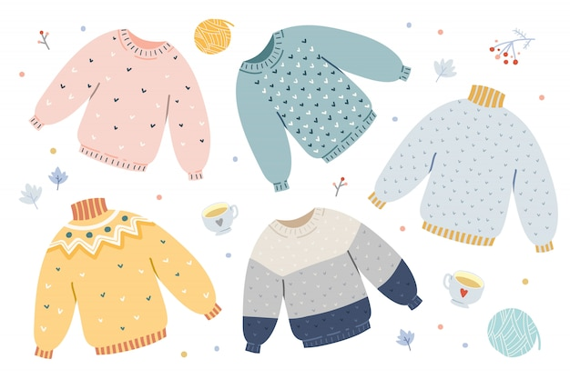 Handdrawn of knitted woolen sweaters