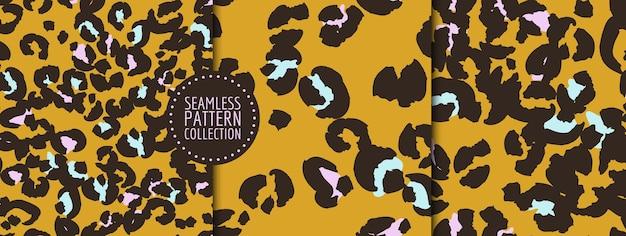 Handdrawn leopard spots seamless pattern set in vector