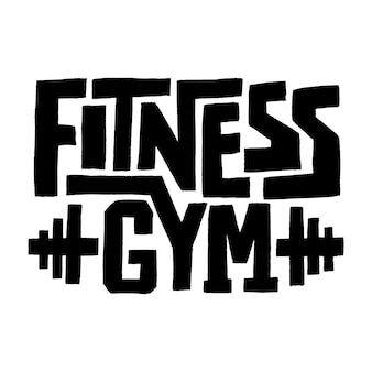 Handdrawn lettering quote fitness quote concept gym workout and fitness motivation phrase