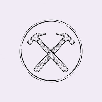 Handdrawn logo vintage cross hammer
